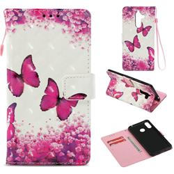 Rose Butterfly 3D Painted Leather Wallet Case for Nokia 7 Plus