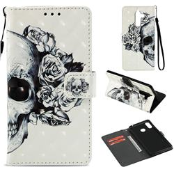 Skull Flower 3D Painted Leather Wallet Case for Nokia 7 Plus