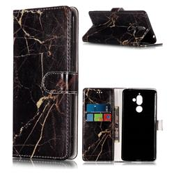Black Gold Marble PU Leather Wallet Case for Nokia 7 Plus