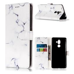 Soft White Marble PU Leather Wallet Case for Nokia 7 Plus