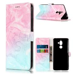Pink Green Marble PU Leather Wallet Case for Nokia 7 Plus