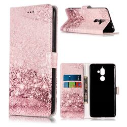 Glittering Rose Gold PU Leather Wallet Case for Nokia 7 Plus