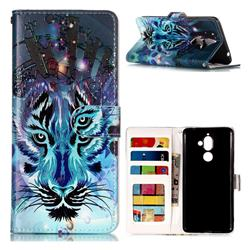 Ice Wolf 3D Relief Oil PU Leather Wallet Case for Nokia 7 Plus