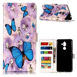 Purple Flowers Butterfly 3D Relief Oil PU Leather Wallet Case for Nokia 7 Plus