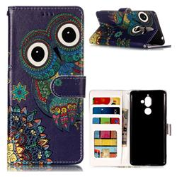 Folk Owl 3D Relief Oil PU Leather Wallet Case for Nokia 7 Plus