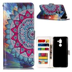 Mandala Flower 3D Relief Oil PU Leather Wallet Case for Nokia 7 Plus