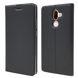 Ultra Slim Card Magnetic Automatic Suction Leather Wallet Case for Nokia 7 Plus - Star Grey