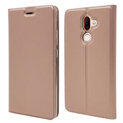 Ultra Slim Card Magnetic Automatic Suction Leather Wallet Case for Nokia 7 Plus - Rose Gold