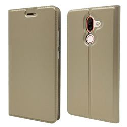 Ultra Slim Card Magnetic Automatic Suction Leather Wallet Case for Nokia 7 Plus - Champagne