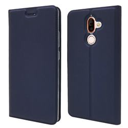 Ultra Slim Card Magnetic Automatic Suction Leather Wallet Case for Nokia 7 Plus - Royal Blue