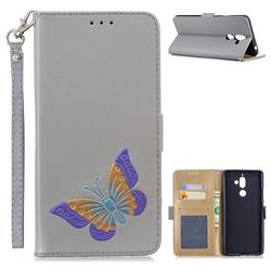 Imprint Embossing Butterfly Leather Wallet Case for Nokia 7 Plus - Grey