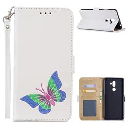 Imprint Embossing Butterfly Leather Wallet Case for Nokia 7 Plus - White