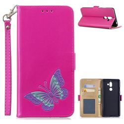 Imprint Embossing Butterfly Leather Wallet Case for Nokia 7 Plus - Rose Red