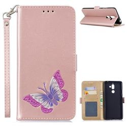 Imprint Embossing Butterfly Leather Wallet Case for Nokia 7 Plus - Rose Gold