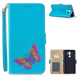 Imprint Embossing Butterfly Leather Wallet Case for Nokia 7 Plus - Sky Blue