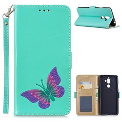 Imprint Embossing Butterfly Leather Wallet Case for Nokia 7 Plus - Mint Green