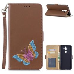 Imprint Embossing Butterfly Leather Wallet Case for Nokia 7 Plus - Brown