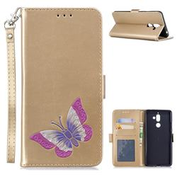Imprint Embossing Butterfly Leather Wallet Case for Nokia 7 Plus - Golden