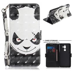 Angry Bear 3D Painted Leather Wallet Phone Case for Nokia 7 Plus