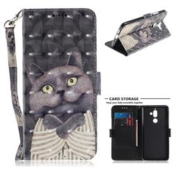 Cat Embrace 3D Painted Leather Wallet Phone Case for Nokia 7 Plus