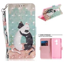 Black and White Cat 3D Painted Leather Wallet Phone Case for Nokia 7 Plus