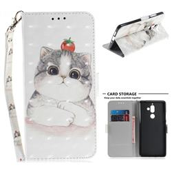 Cute Tomato Cat 3D Painted Leather Wallet Phone Case for Nokia 7 Plus