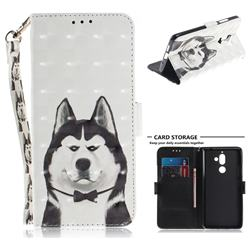 Husky Dog 3D Painted Leather Wallet Phone Case for Nokia 7 Plus