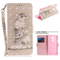 Three Squirrels 3D Painted Leather Wallet Phone Case for Nokia 7 Plus