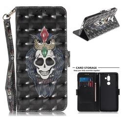 Skull Cat 3D Painted Leather Wallet Phone Case for Nokia 7 Plus