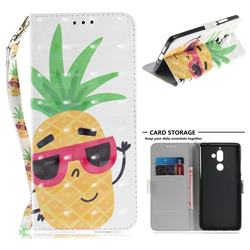 Pineapple Glasses 3D Painted Leather Wallet Phone Case for Nokia 7 Plus