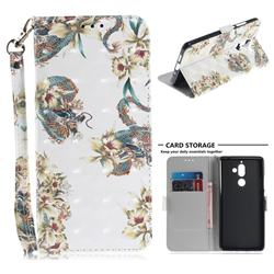 Dragon Flower 3D Painted Leather Wallet Phone Case for Nokia 7 Plus