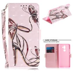 Butterfly High Heels 3D Painted Leather Wallet Phone Case for Nokia 7 Plus