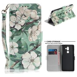 Watercolor Flower 3D Painted Leather Wallet Phone Case for Nokia 7 Plus