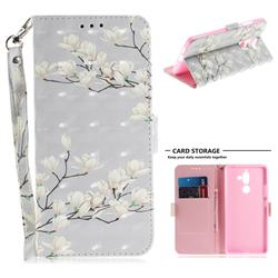 Magnolia Flower 3D Painted Leather Wallet Phone Case for Nokia 7 Plus