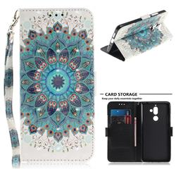 Peacock Mandala 3D Painted Leather Wallet Phone Case for Nokia 7 Plus
