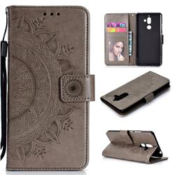 Intricate Embossing Datura Leather Wallet Case for Nokia 7 Plus - Gray