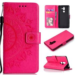 Intricate Embossing Datura Leather Wallet Case for Nokia 7 Plus - Rose Red