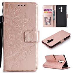 Intricate Embossing Datura Leather Wallet Case for Nokia 7 Plus - Rose Gold