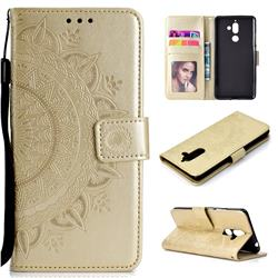 Intricate Embossing Datura Leather Wallet Case for Nokia 7 Plus - Golden