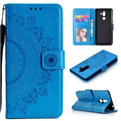 Intricate Embossing Datura Leather Wallet Case for Nokia 7 Plus - Blue