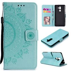 Intricate Embossing Datura Leather Wallet Case for Nokia 7 Plus - Mint Green