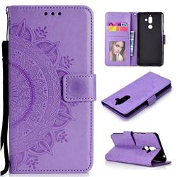 Intricate Embossing Datura Leather Wallet Case for Nokia 7 Plus - Purple