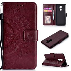 Intricate Embossing Datura Leather Wallet Case for Nokia 7 Plus - Brown