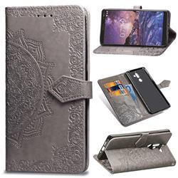 Embossing Imprint Mandala Flower Leather Wallet Case for Nokia 7 Plus - Gray