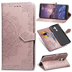 Embossing Imprint Mandala Flower Leather Wallet Case for Nokia 7 Plus - Rose Gold
