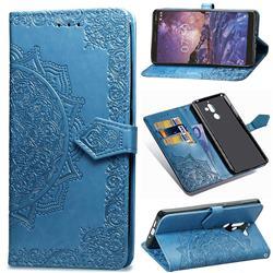 Embossing Imprint Mandala Flower Leather Wallet Case for Nokia 7 Plus - Blue
