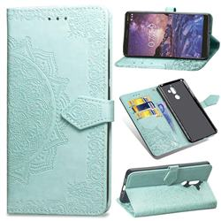 Embossing Imprint Mandala Flower Leather Wallet Case for Nokia 7 Plus - Green