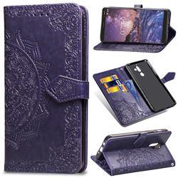 Embossing Imprint Mandala Flower Leather Wallet Case for Nokia 7 Plus - Purple