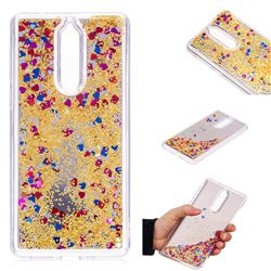Glitter Sand Mirror Quicksand Dynamic Liquid Star TPU Case for Nokia 8 - Yellow
