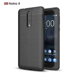 Luxury Auto Focus Litchi Texture Silicone TPU Back Cover for Nokia 8 - Black